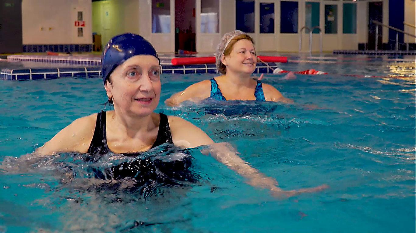 Seniors Doing Swimming Exercises in the Pool