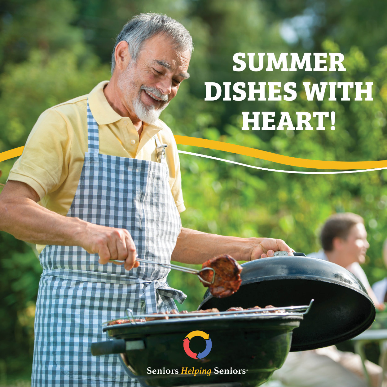 Senior Cooking on a Grill Outdoors